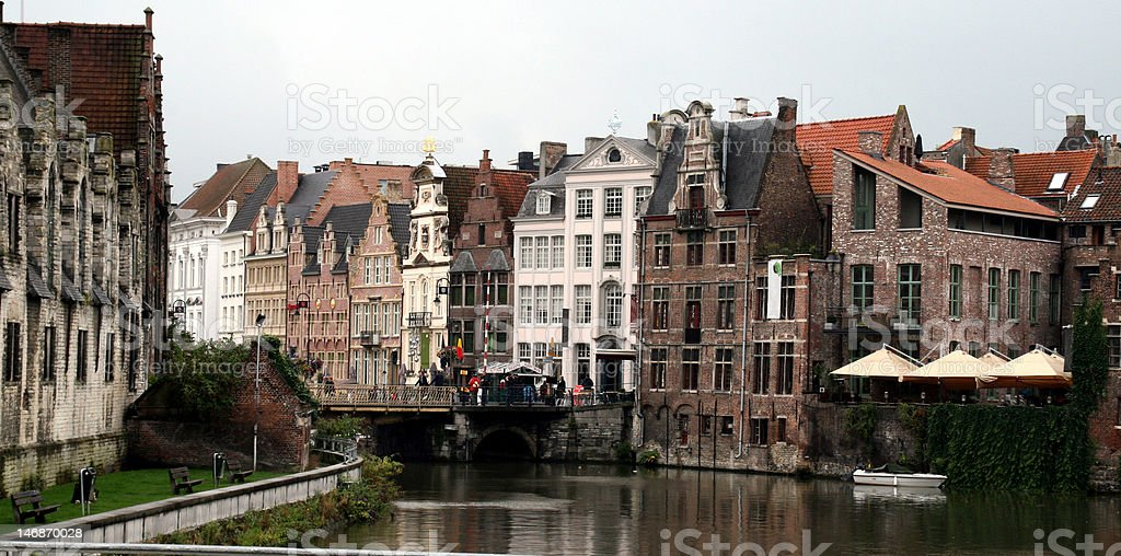 old houses on a canal stock photo