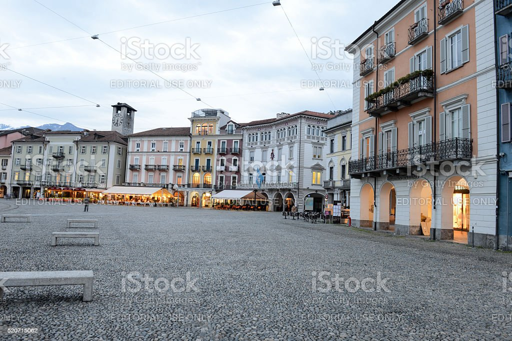 Old houses on piazza grande square at Locarno stock photo