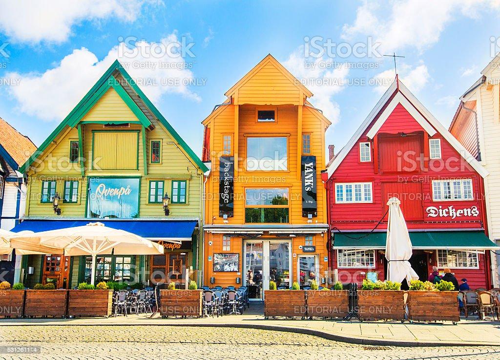 Old houses (circa XIX c.) on Skagenkaien street. Stavanger. stock photo