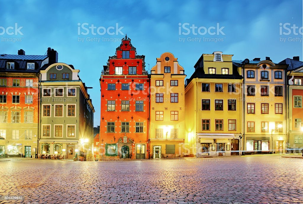 Old houses on Stortorget square at night. Stockholm, Sweden stock photo