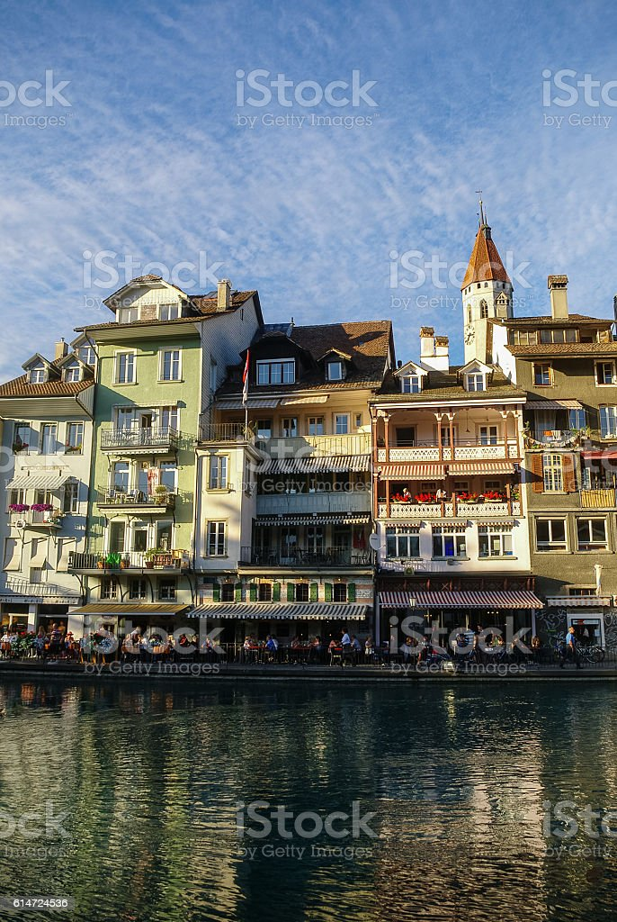 Old Houses on the Embankment Aare river in Thun stock photo