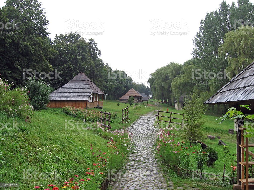 Old houses path royalty-free stock photo