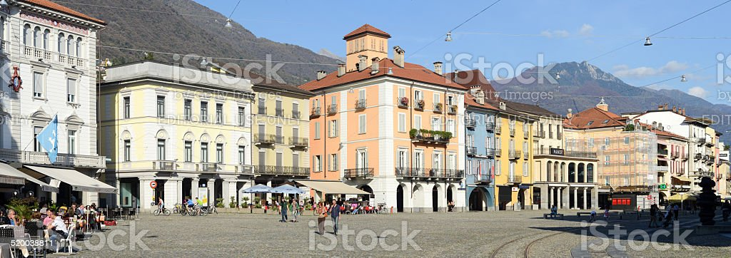 Old houses Piazza grande square at Locarno stock photo
