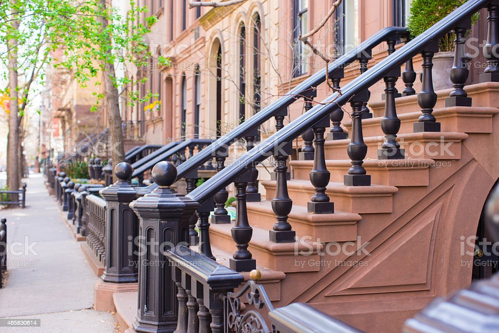 Old houses with stairs in the historic district stock photo