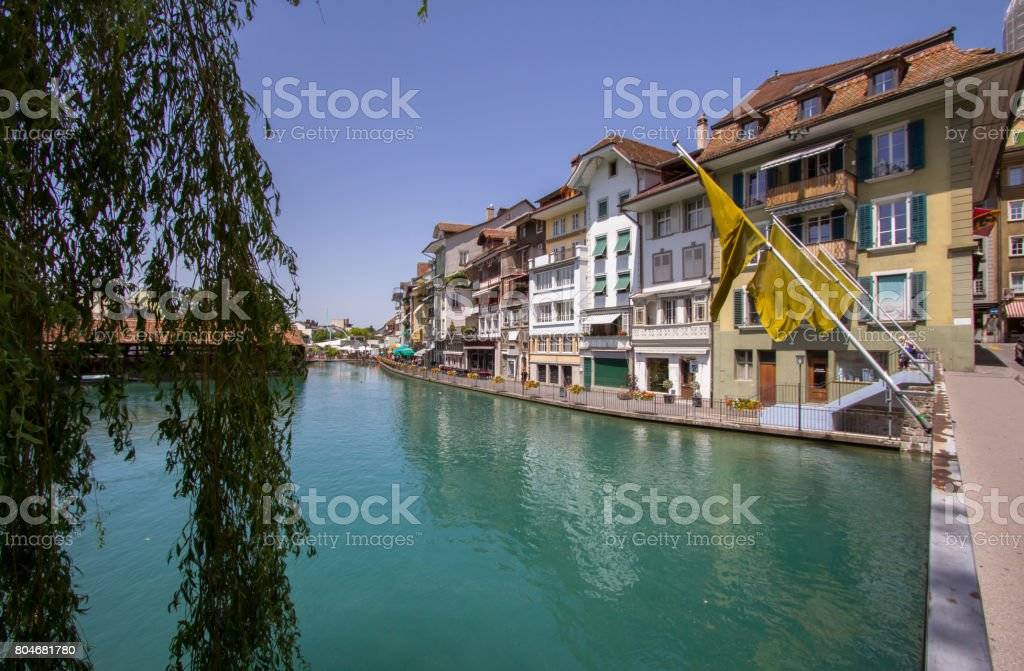 Old Housesin the Old Town of Thun in Switzerland stock photo