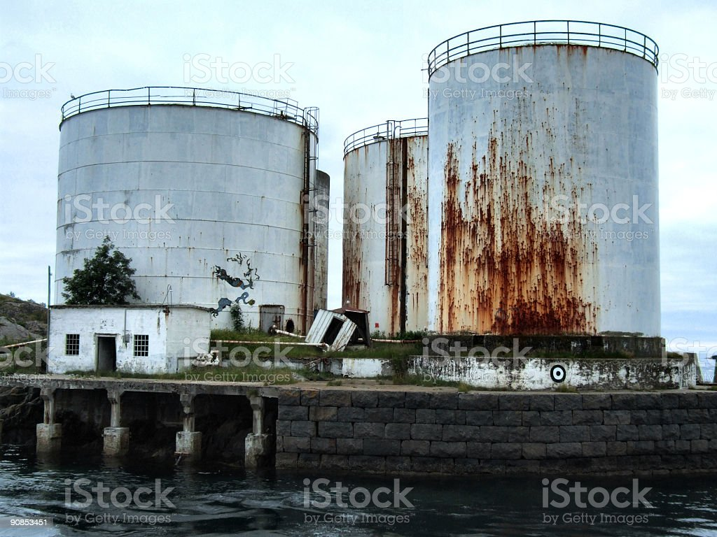 Old huge rusty oil tanks royalty-free stock photo