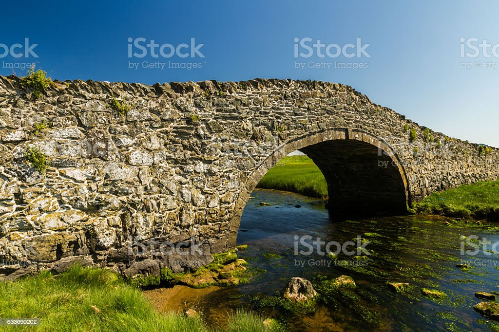 Old Hump Back Bridge, Aberffraw, Anglesey. stock photo
