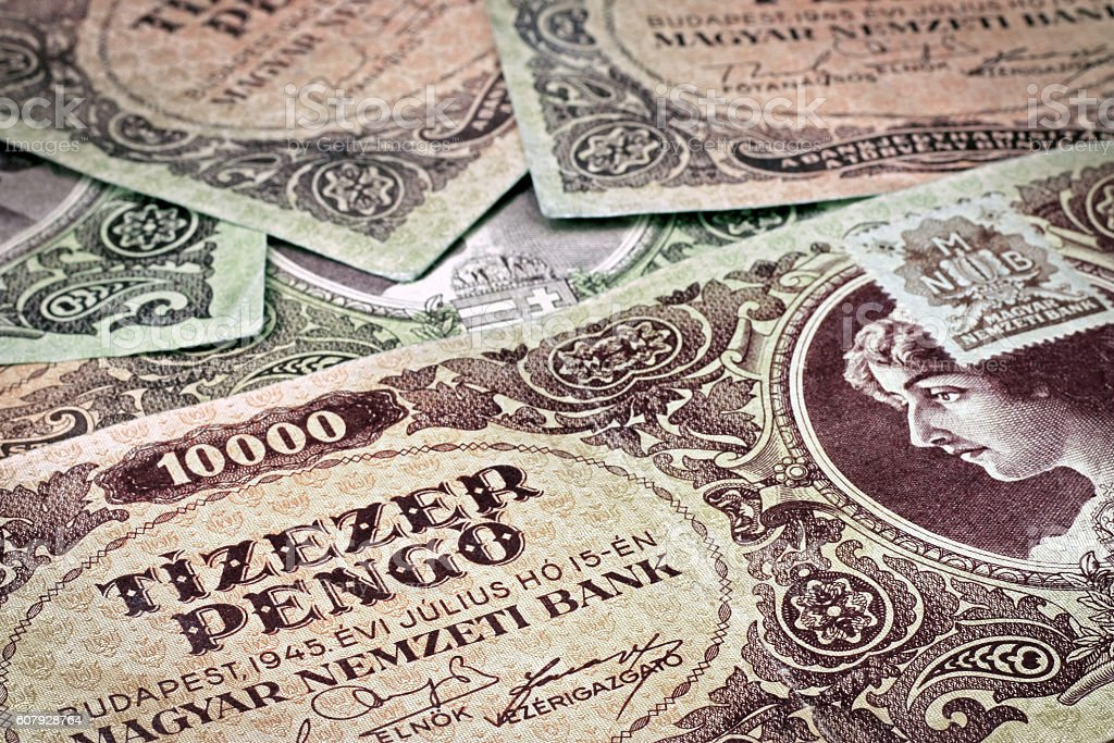 Old Hungarian money with stamp stock photo