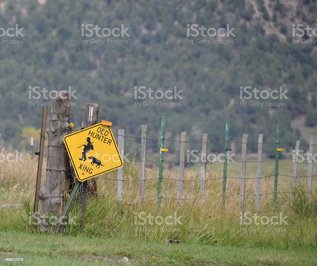 Old Hunter Sign stock photo