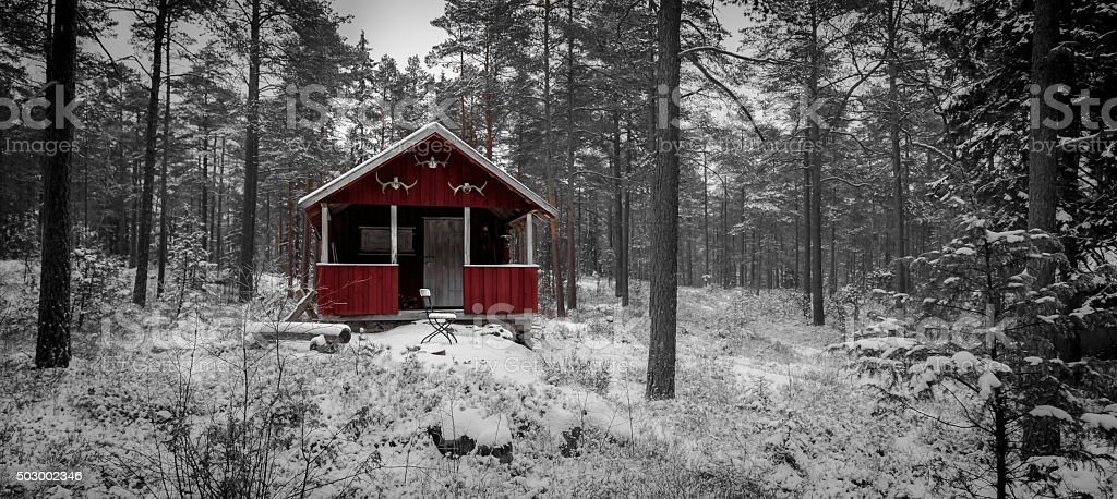 Old Hunting cabin stock photo