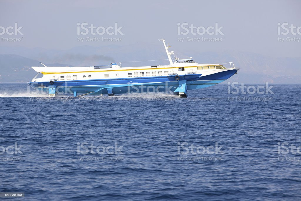 Old Hydrofoil at maximum spped stock photo