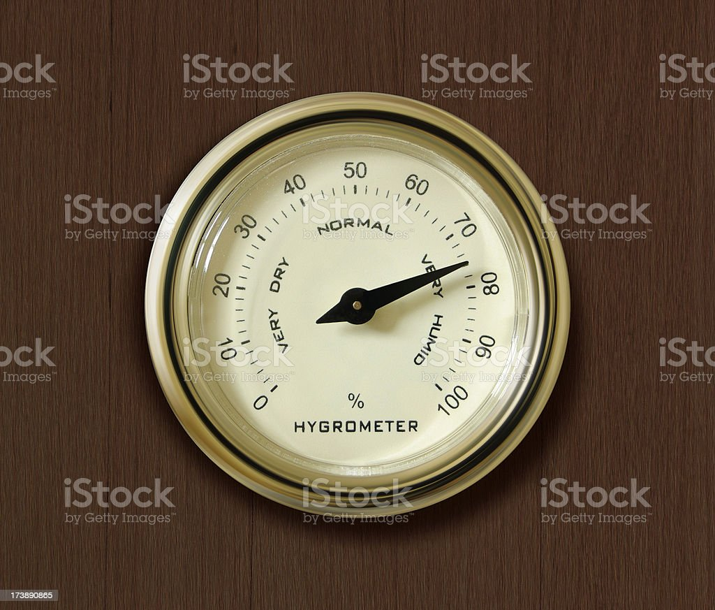 Old hygrometer / hydrometer on wooden background stock photo