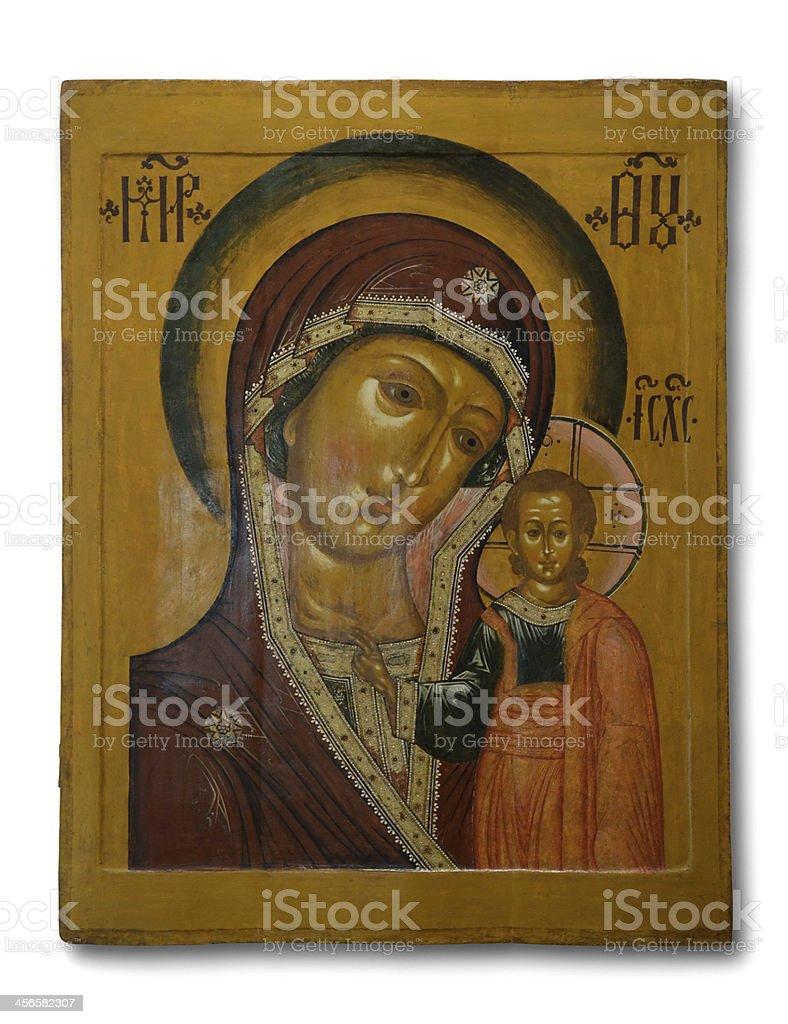 Old icon 'Our lady of Kazan' stock photo