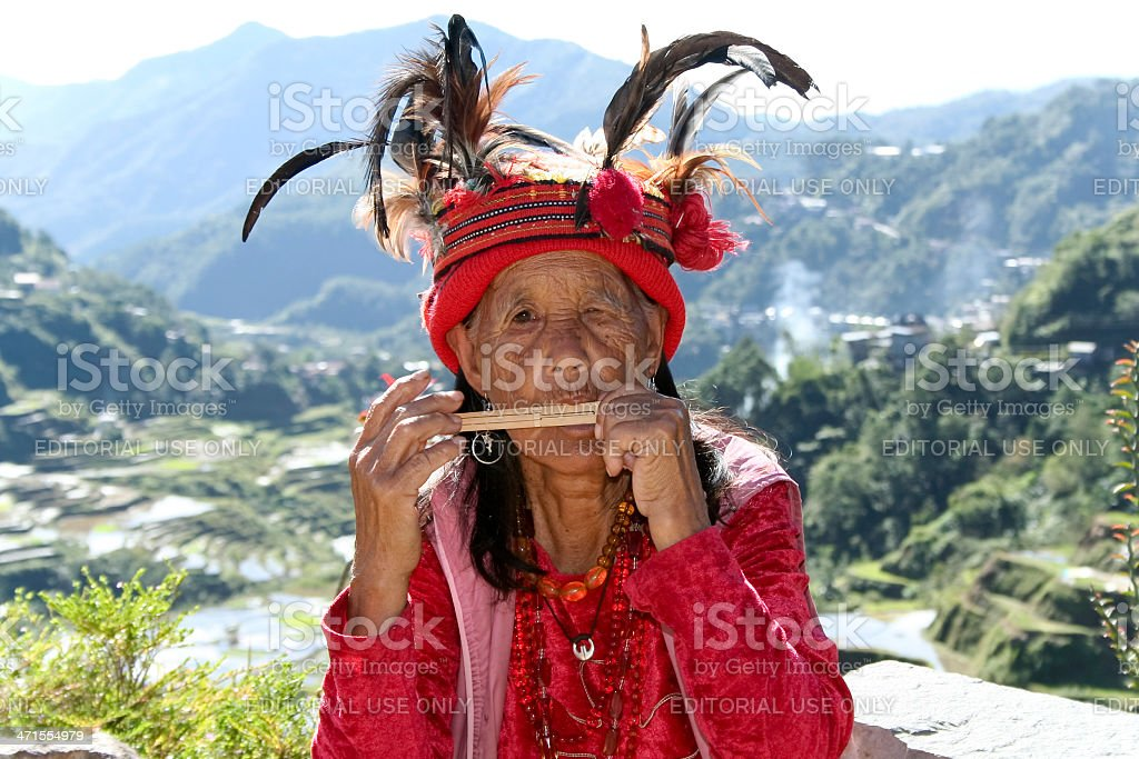 old ifugao woman rice terraces philippines royalty-free stock photo
