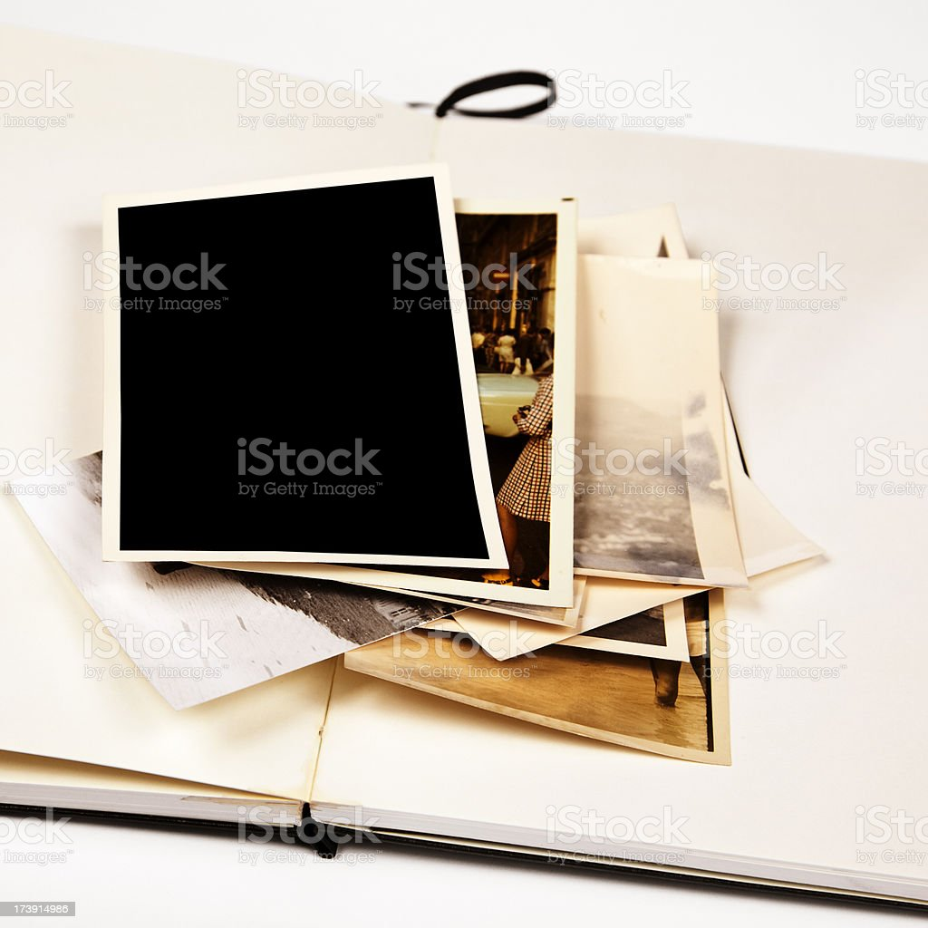 old images on a stack and note book stock photo
