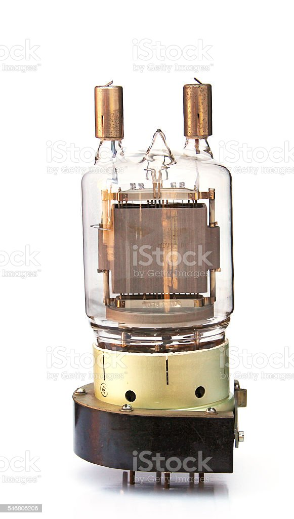 old incandescent lamp, vintage lamp generator isolated on white stock photo