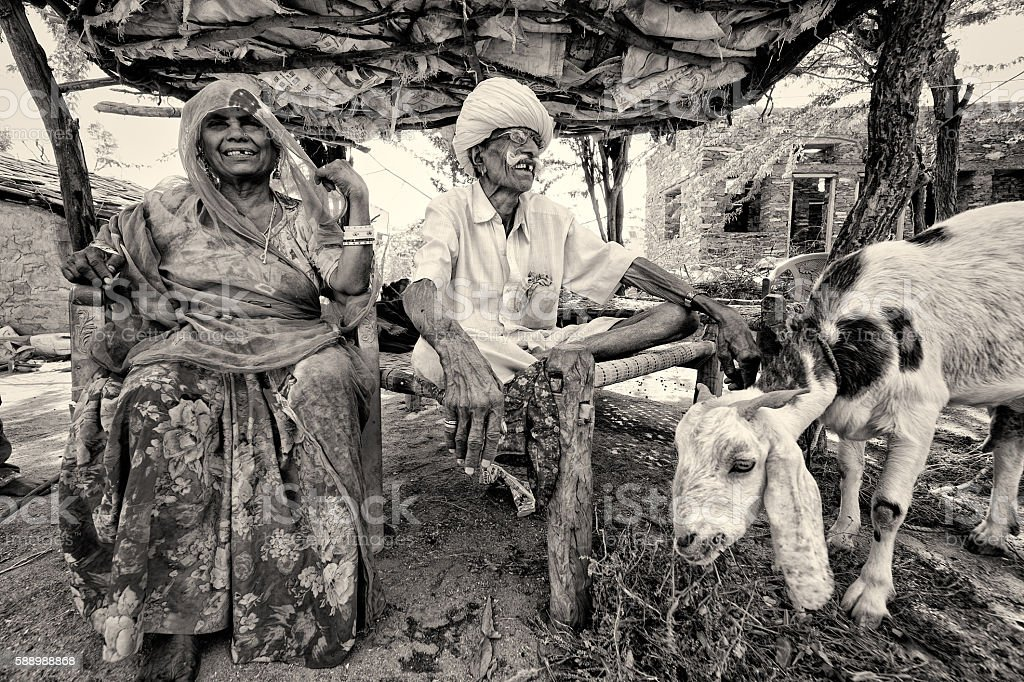 Old Indian couple stock photo