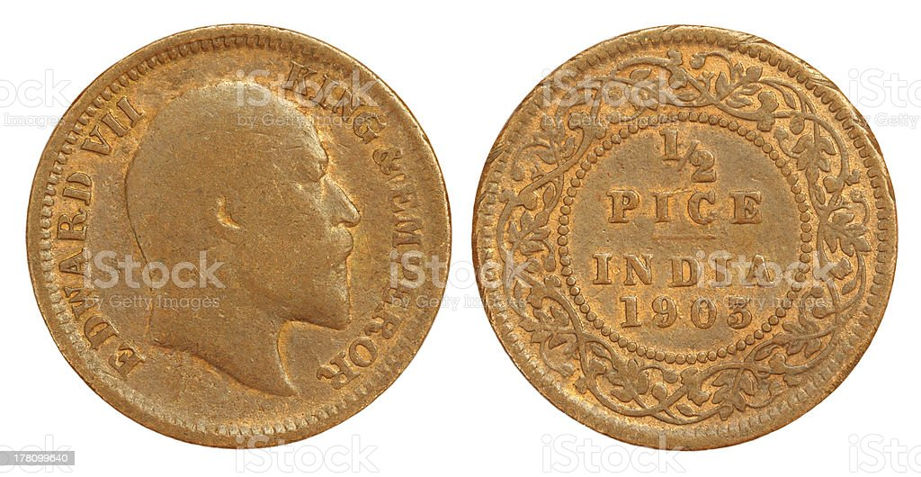 Old Indian Half Pice Coin of 1903 stock photo