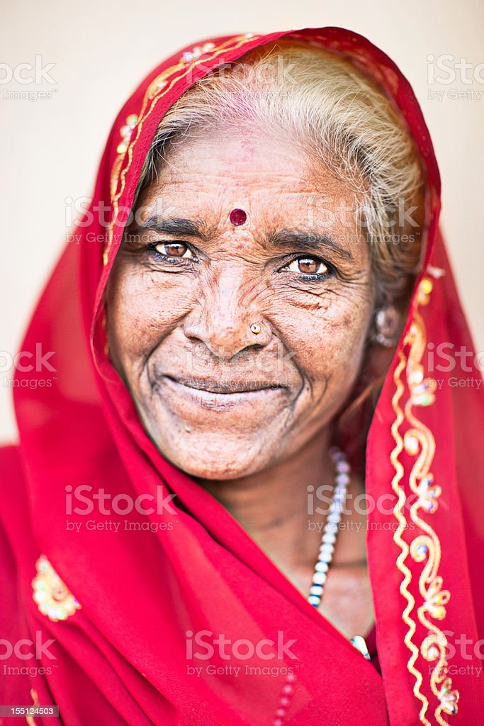 Old Indian lady stock photo