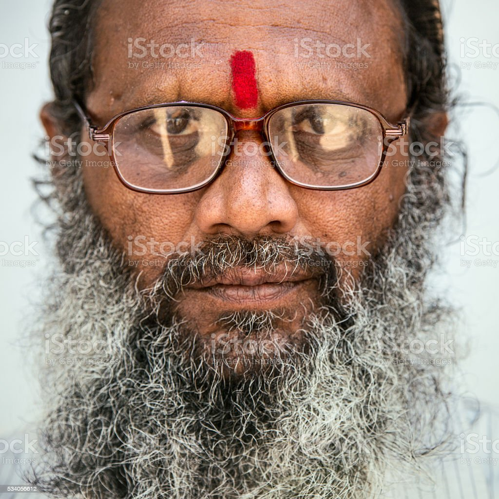 Old Indian man portrait stock photo