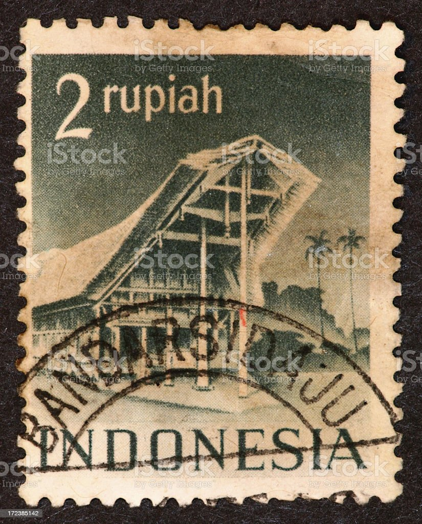 old Indonesia stamp royalty-free stock photo