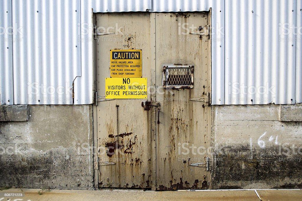 Old Industrial Door stock photo