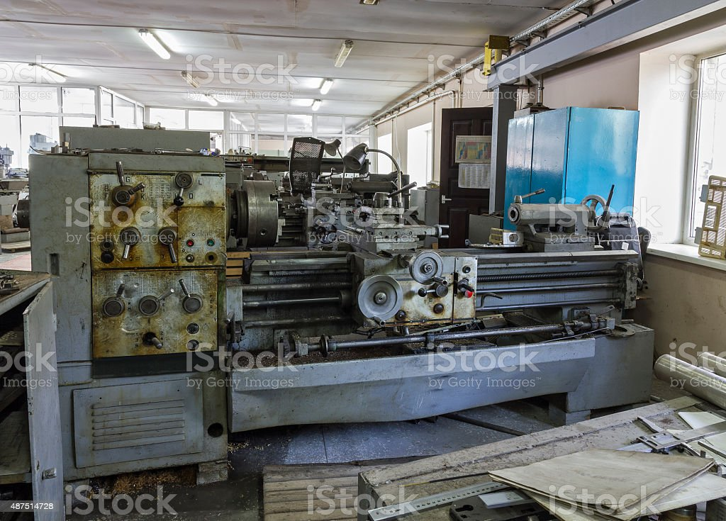 Old Industrial equipment. Turning lathes. stock photo