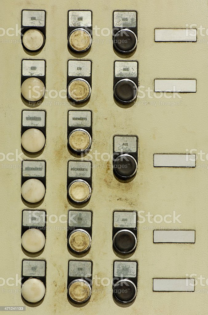 Old industrial control panal stock photo