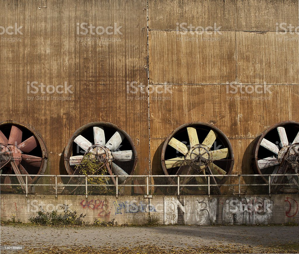 old industrial turbines stock photo