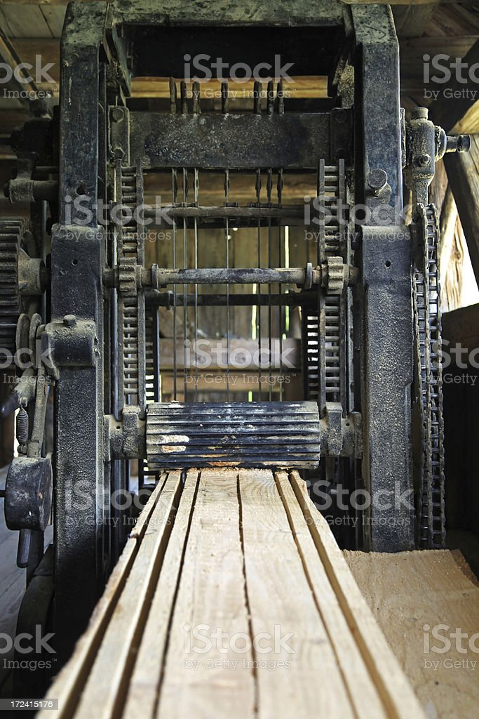 Old industrial wood saw stock photo