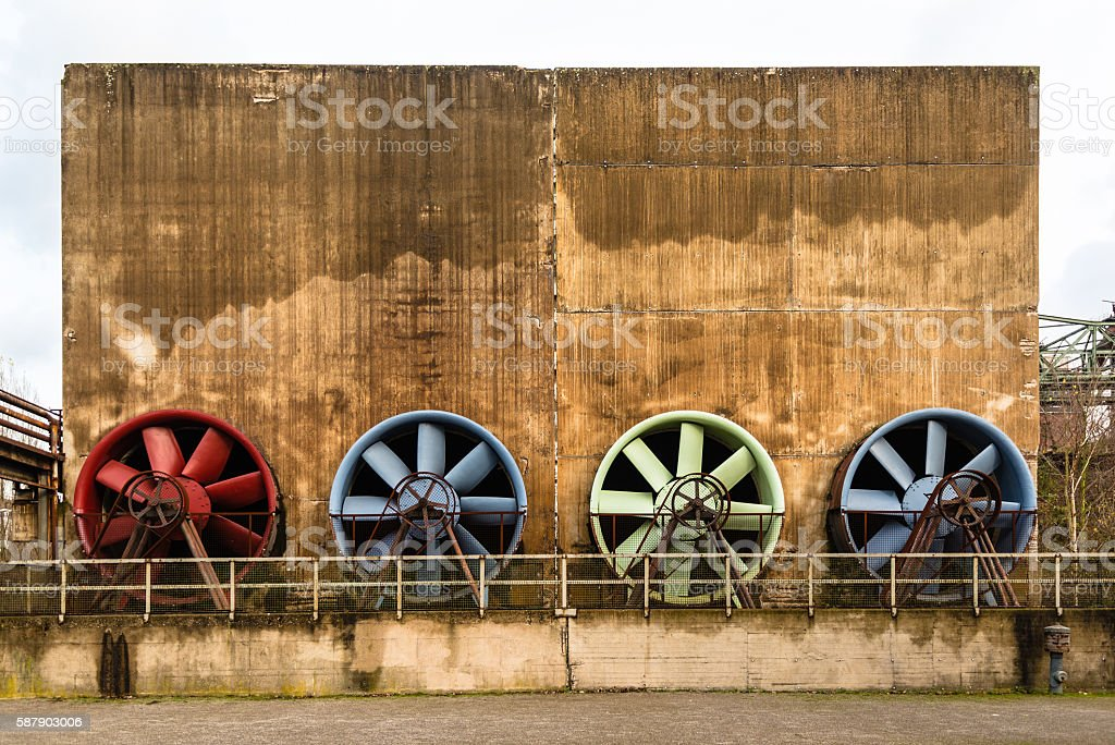 Old industry building with ventilation at the Landschaftspark Duisburg stock photo