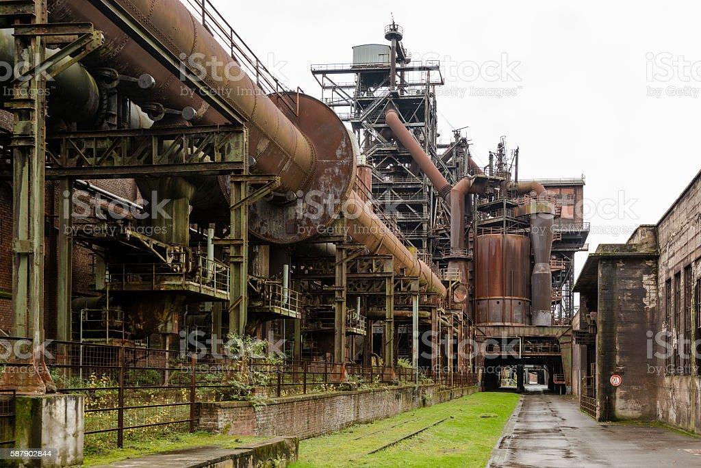 Old industry buildings at the Landschaftspark Duisburg stock photo