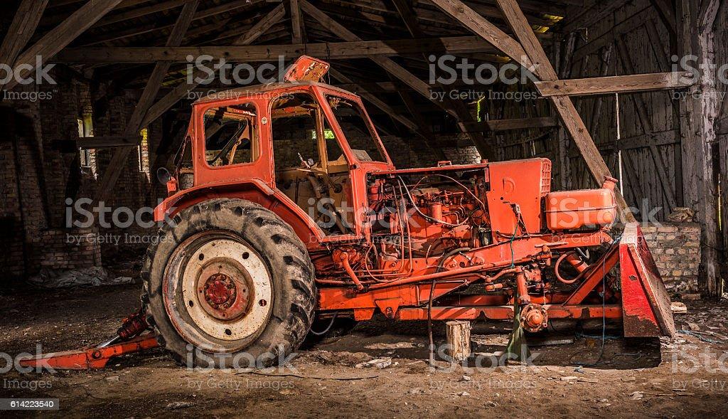 Old inoperative tractor stock photo