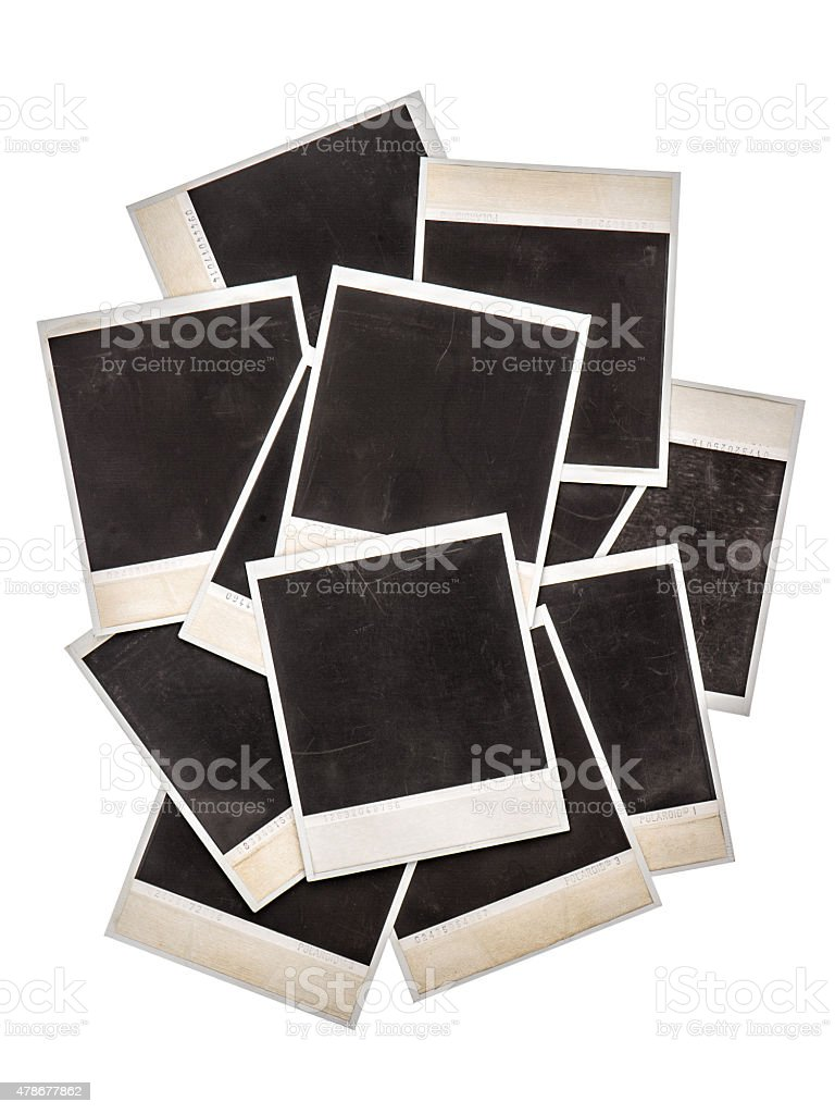 Old instant photo frames isolated on background stock photo