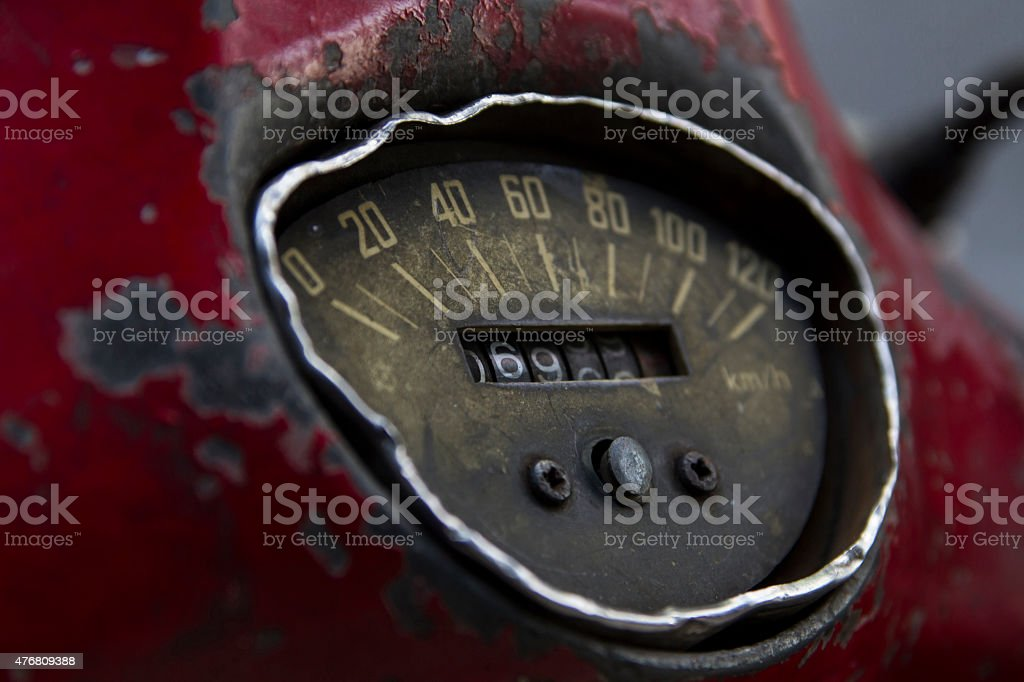 Old instrument cluster with milage stock photo