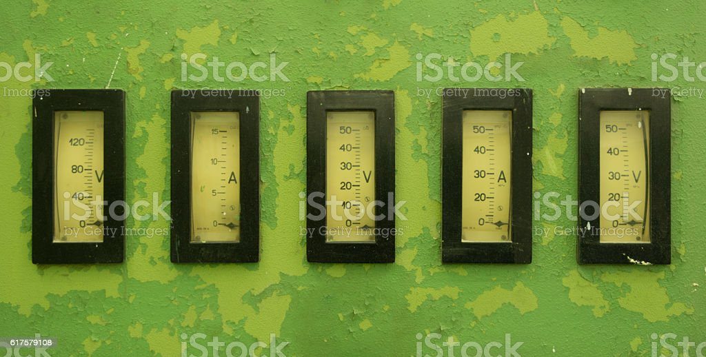 old instrument gauges stock photo