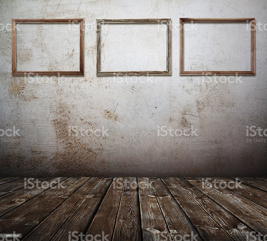 Old interior with frames royalty-free stock photo