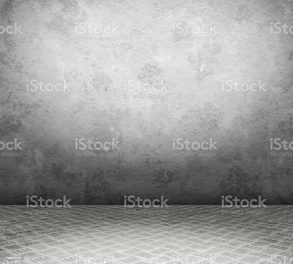 Old interior with metal floor royalty-free stock photo