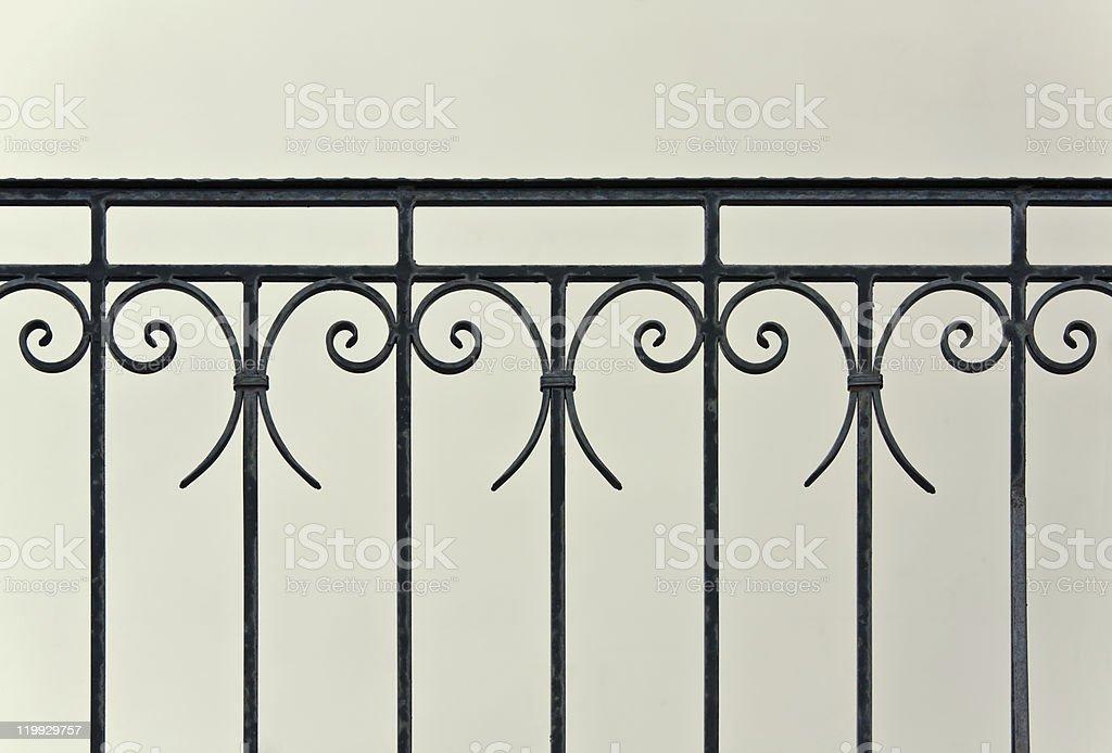 Old iron banister stock photo
