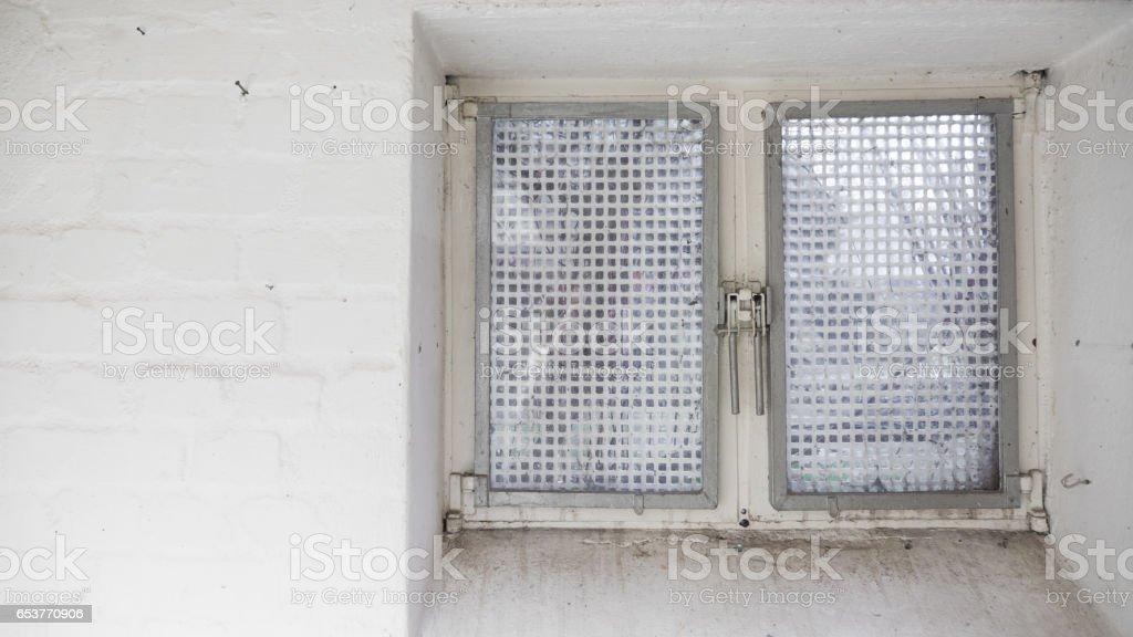 Old Iron Basement window, with metal grid