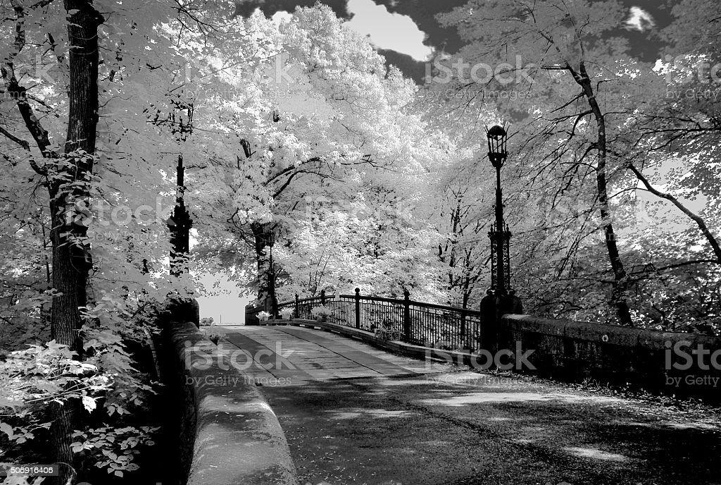Old Iron Bridge-Infrared stock photo