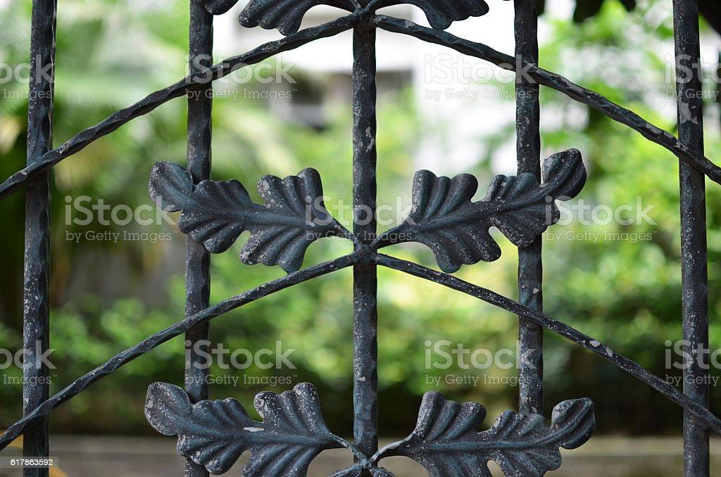 Old iron fence stock photo