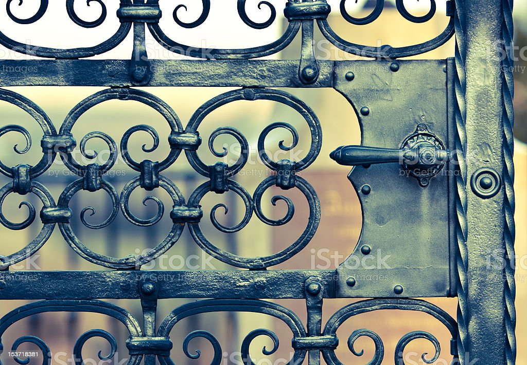 old iron gate with decoration stock photo