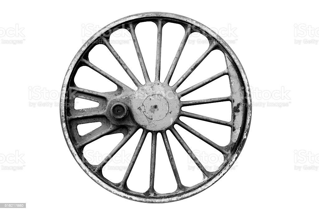 old iron lokomotive wheel stock photo