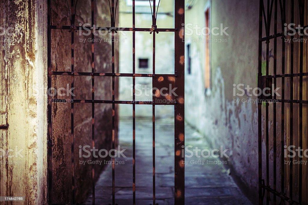 Old iron Mediterranean backyard gates royalty-free stock photo