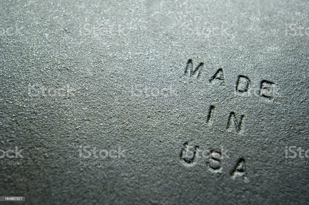 Old Iron Plate Embossed With 'MADE IN USA' stock photo