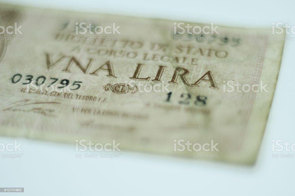 Old Italian Banknote, One Lira stock photo