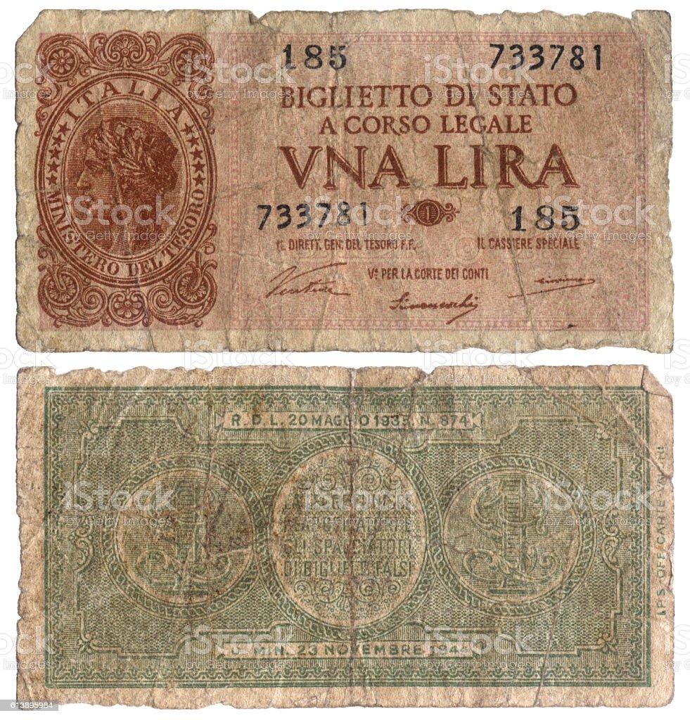 Old Italian Banknote - One Lire 1933 stock photo