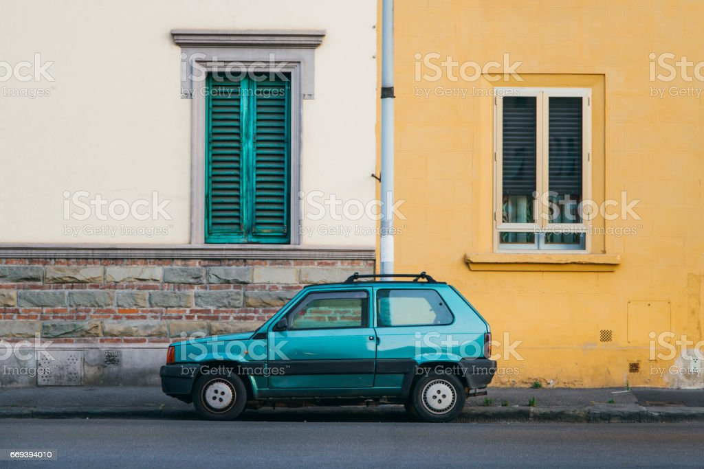 Old italian car at street stock photo