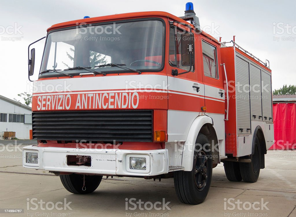 Old italian fire truck white and red, servizio antincendio royalty-free stock photo